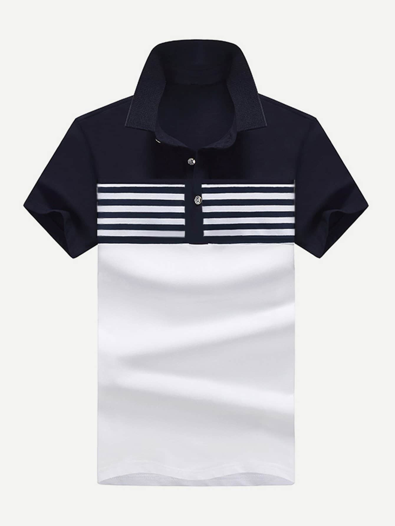 Men Contrast Neck Striped Polo Shirt