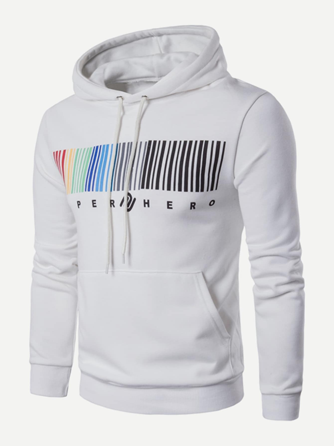 Men Colorful QR Code Print Hooded Sweatshirt qr code bar code printer stickers label printer support jewelry and clothing tags argox ox 100