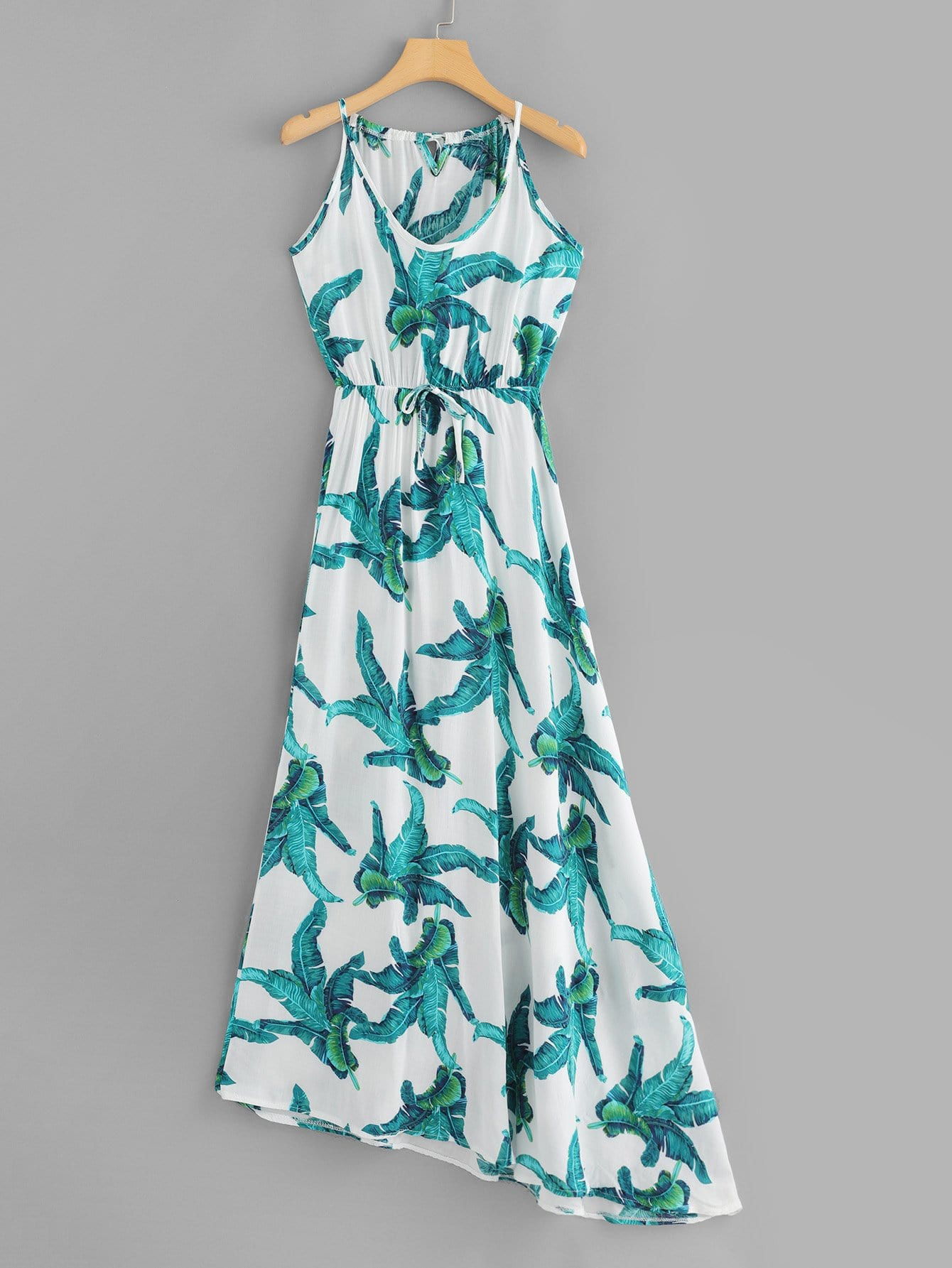 V Neckline Leaf Print Dress