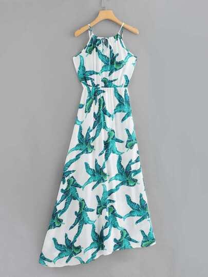 Romwe / V Neckline Leaf Print Dress