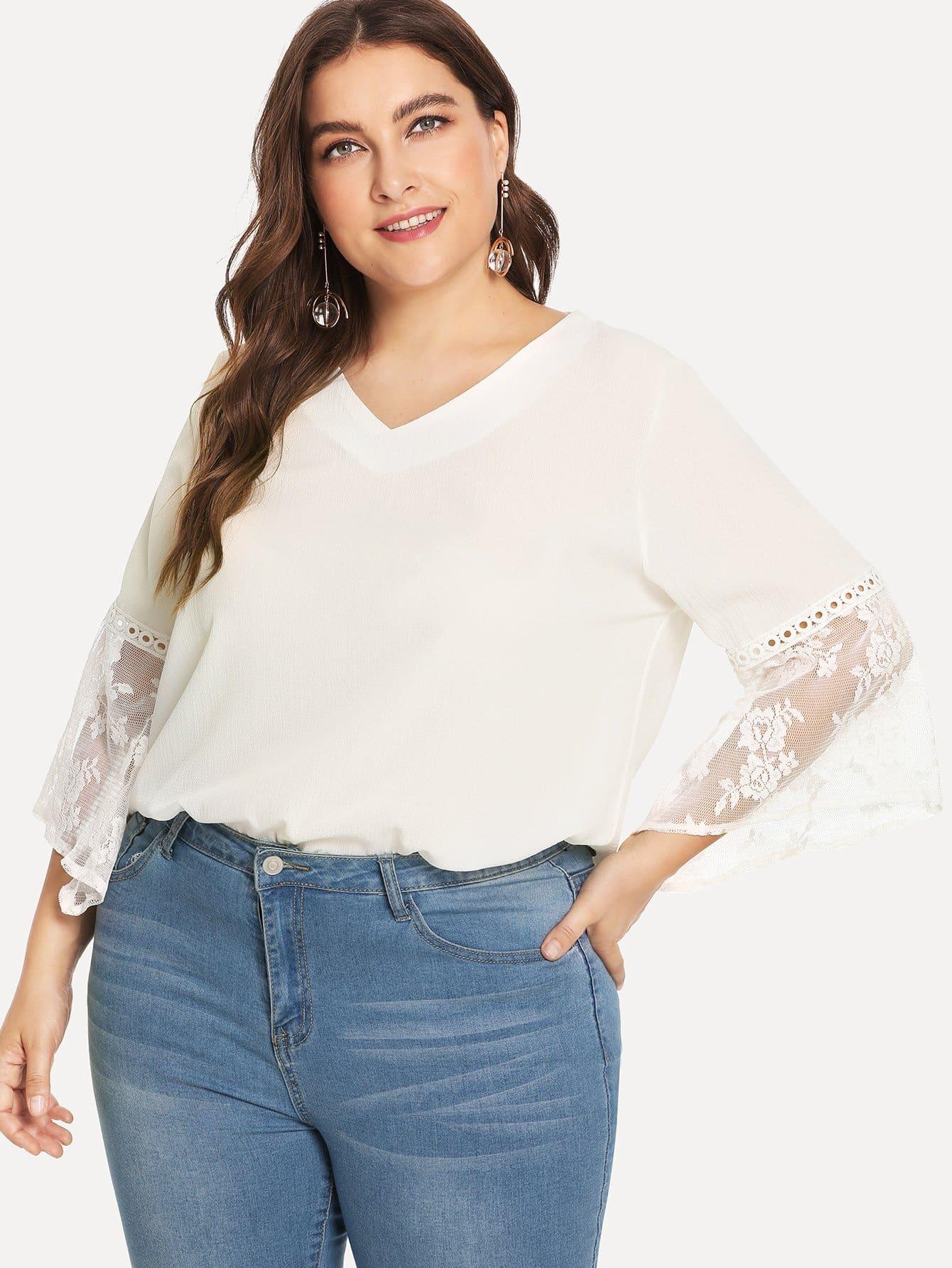 Купить Кружевная рубашка с V-образном вырезом, Franziska, SheIn