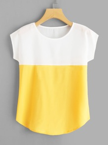 Round Neck Colorblock Top