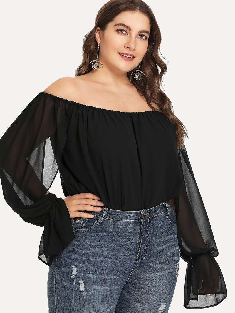 Plus Off Shoulder Sheer Mesh Sleeve Bodysuit, Black, Franziska