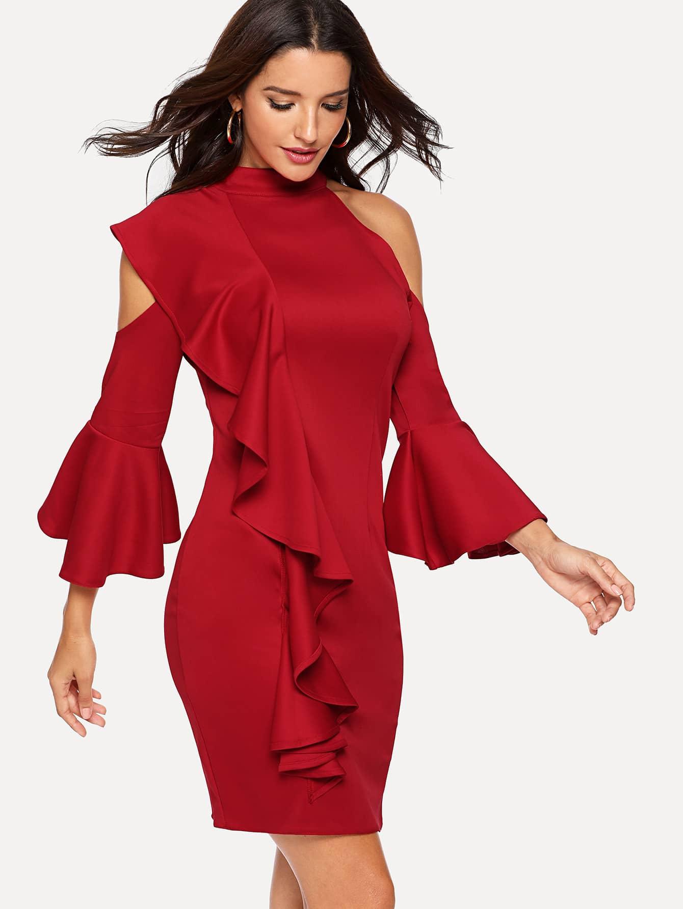 Купить Платье на бретелях с кружевными оборками и рукава с розеткой, Juliana, SheIn