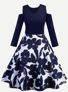 Floral Print Cold Shoulder Flare Dress