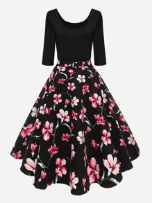 Floral Print Flare Dress