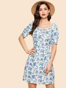Floral Print Knot Neck Zip Back Dress