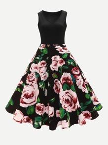 Floral Print Ball Gown Dress