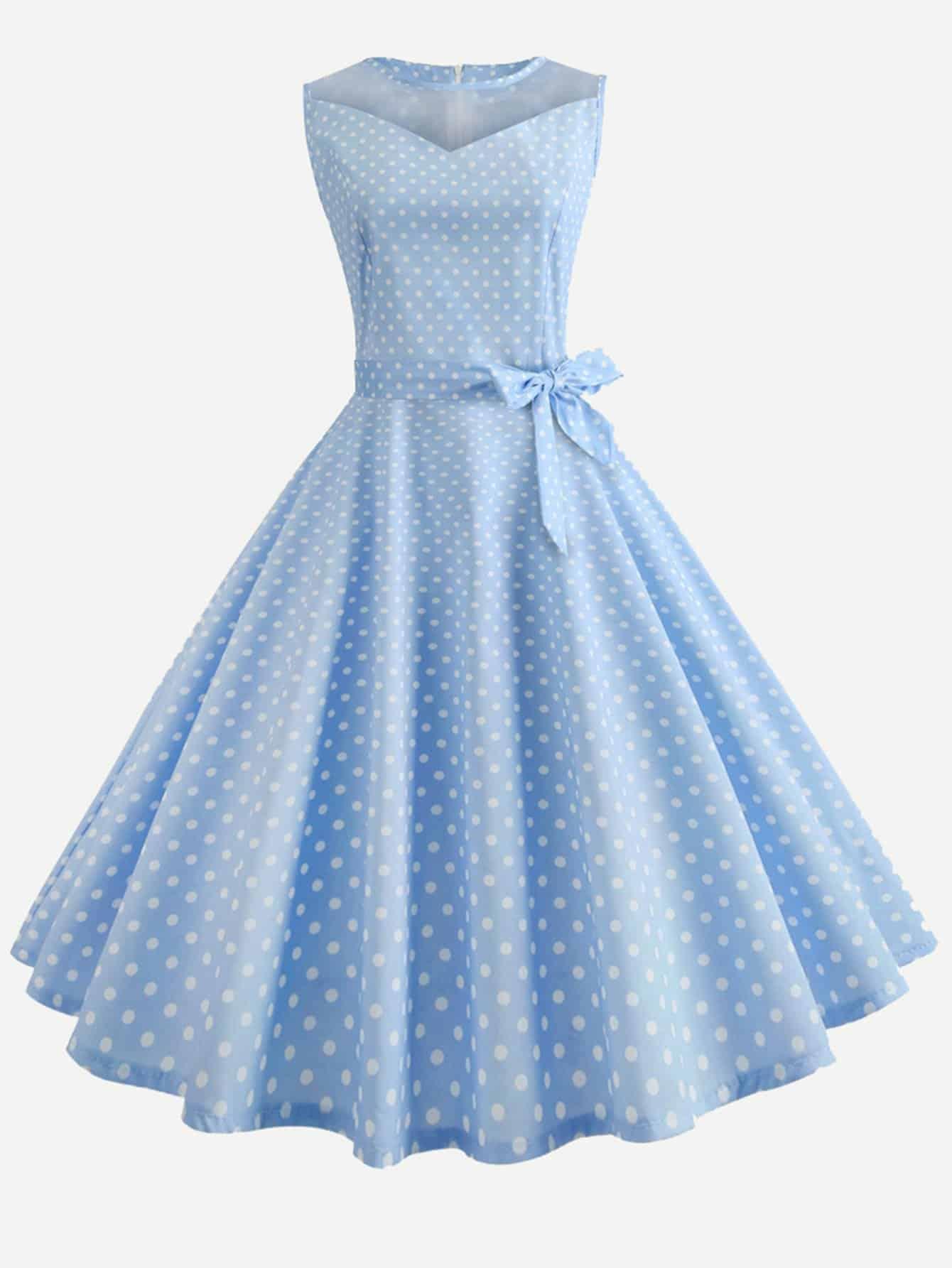 Купить Платье клеш и с рисунками точк и с поясом, null, SheIn