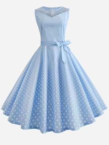 Polka Dot Zip Back Belted Flare Dress