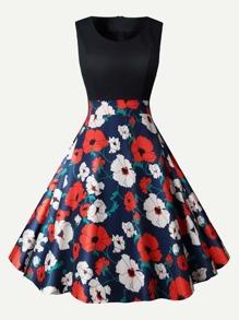 Floral Print Zip Back Flare Dress