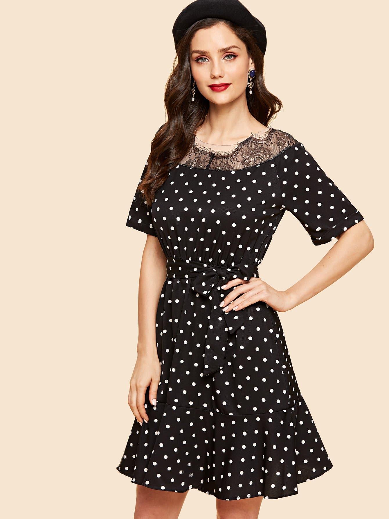 Купить Кружевное платье с рисунками точк и с поясом, Julie H., SheIn