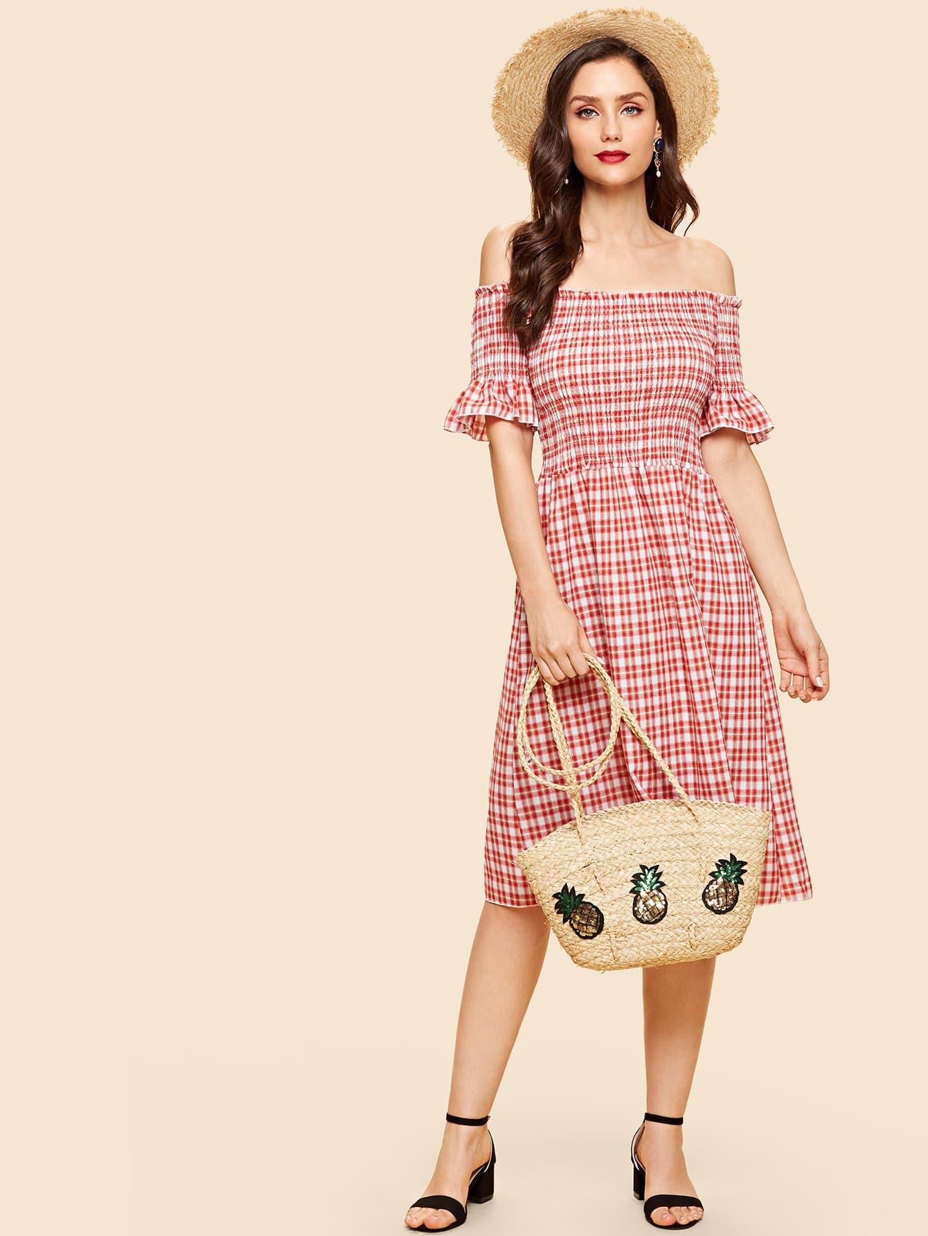 Купить Плиссированное платье в клетку и рукавами с розеткой, Julie H., SheIn