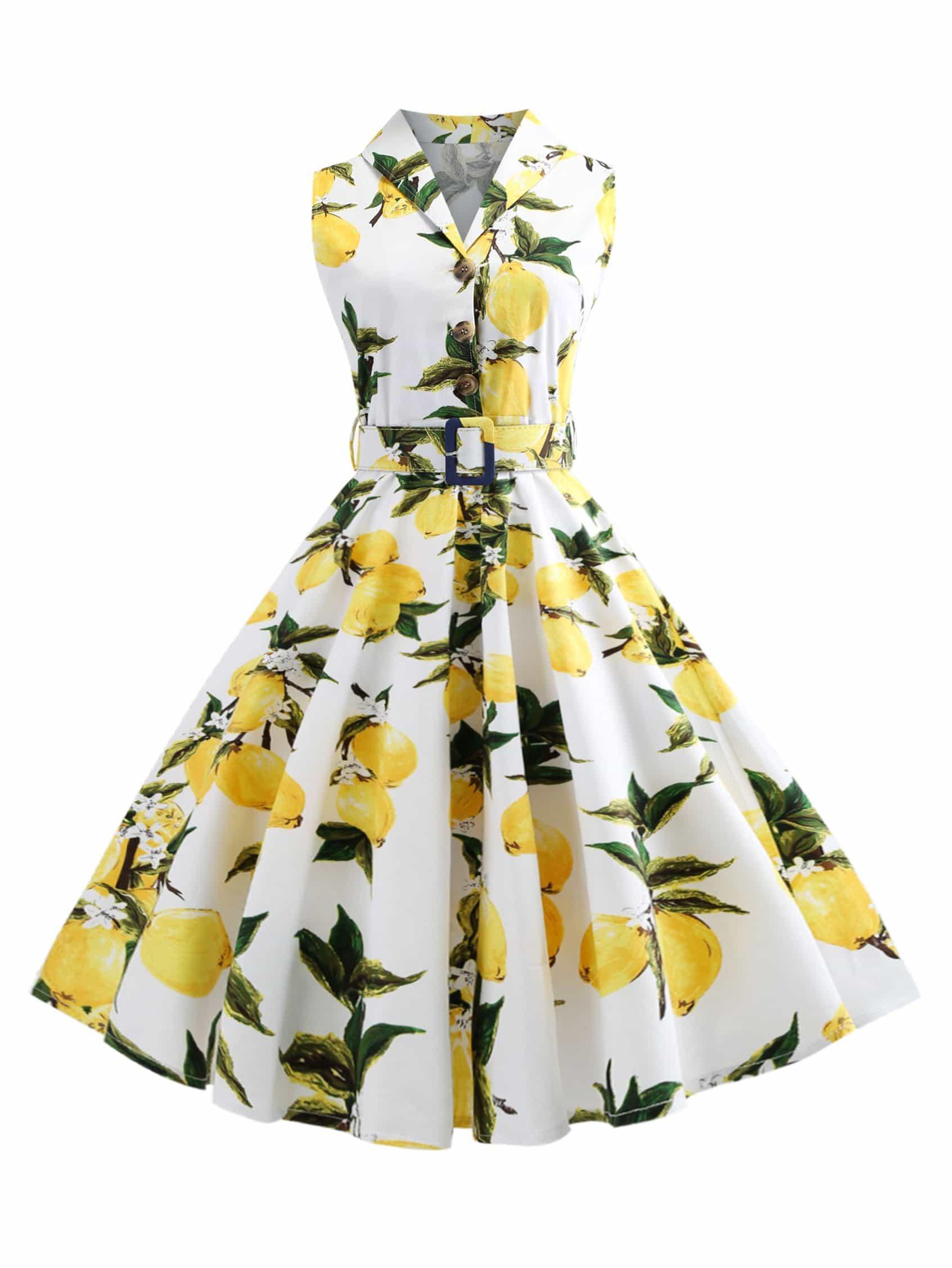 Однобортное платье клеш с рисунками фруктов и с поясом, null, SheIn  - купить со скидкой