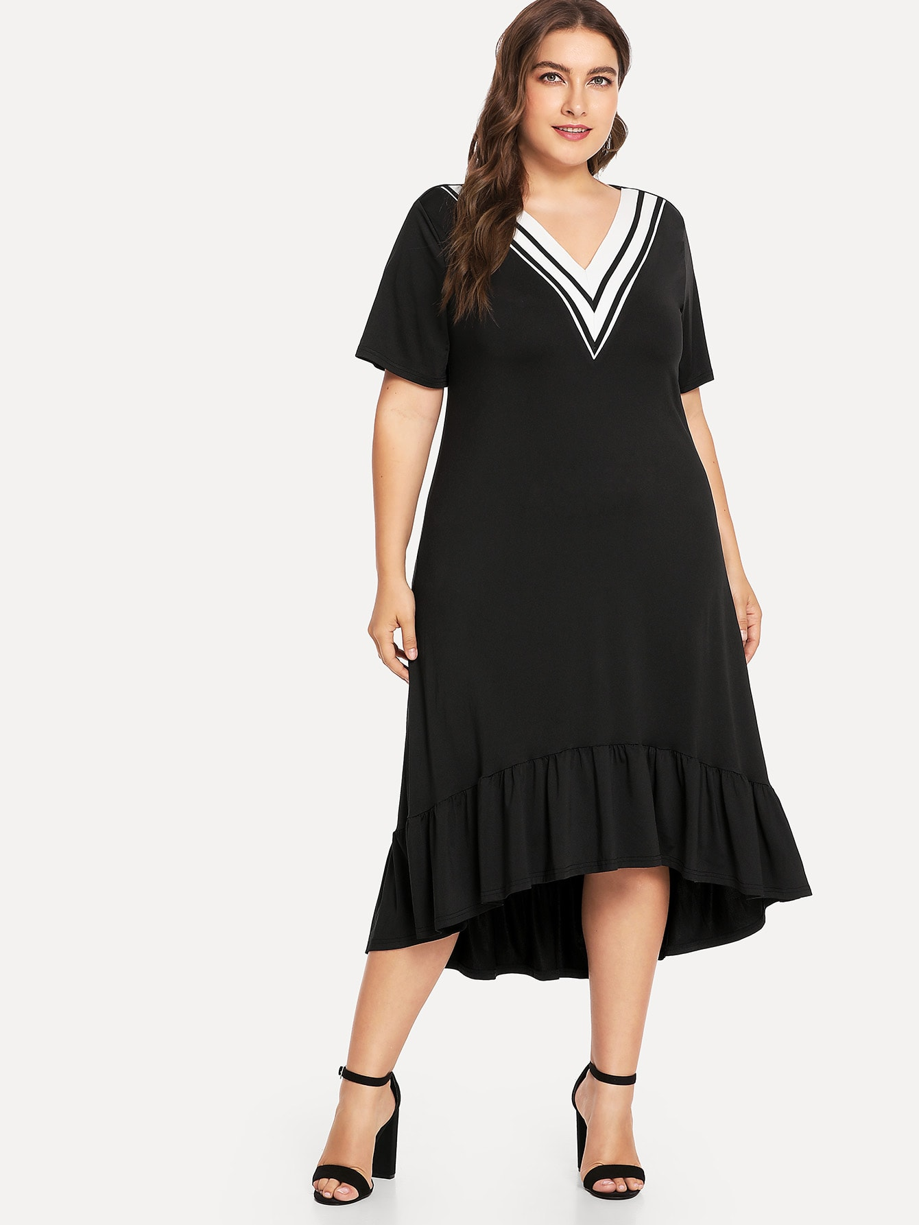 Plus V Neckline Striped Ruffle Hem Dress