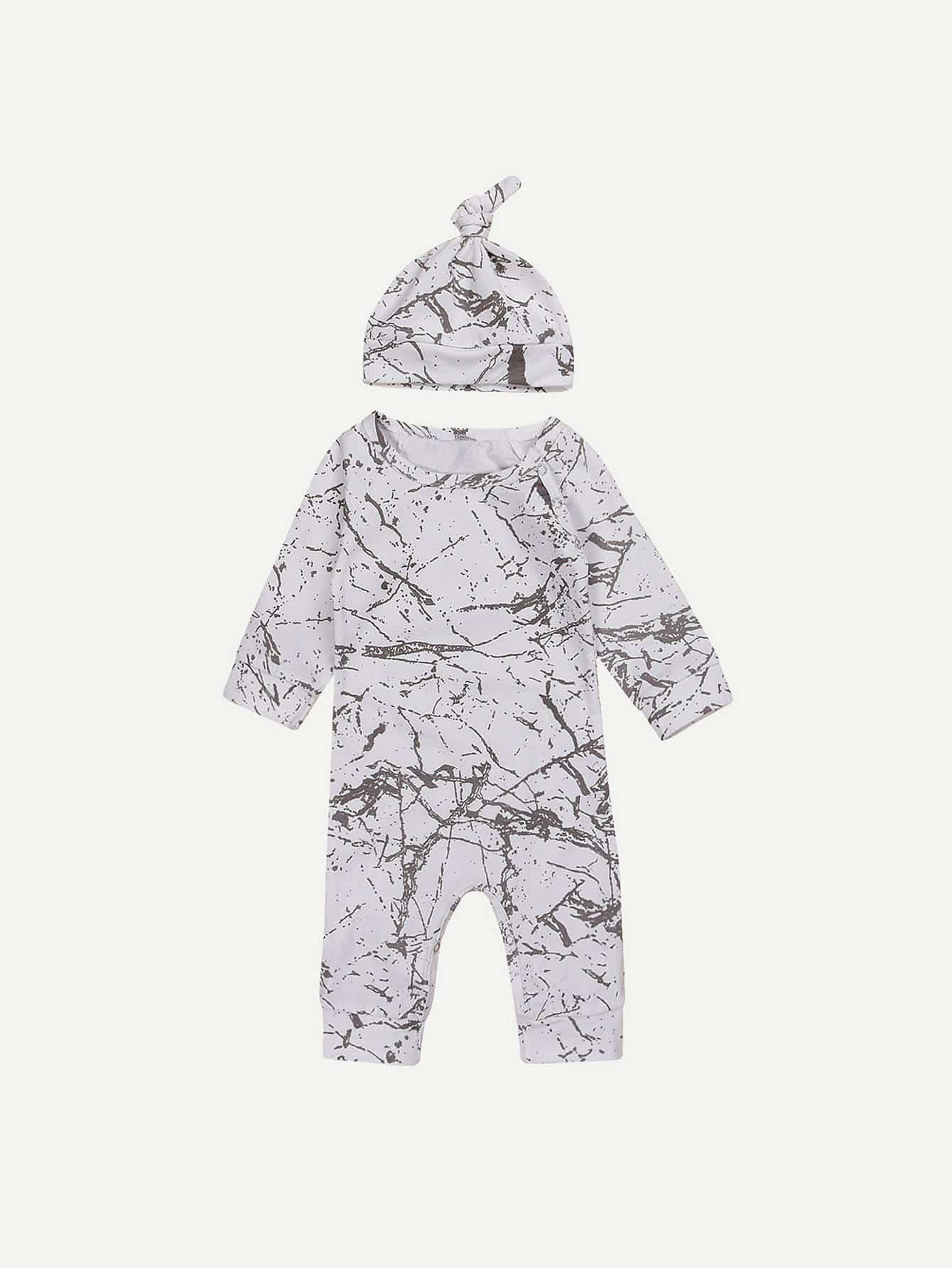 Boys Abstract Print Jumpsuits Set With Hat femme платье