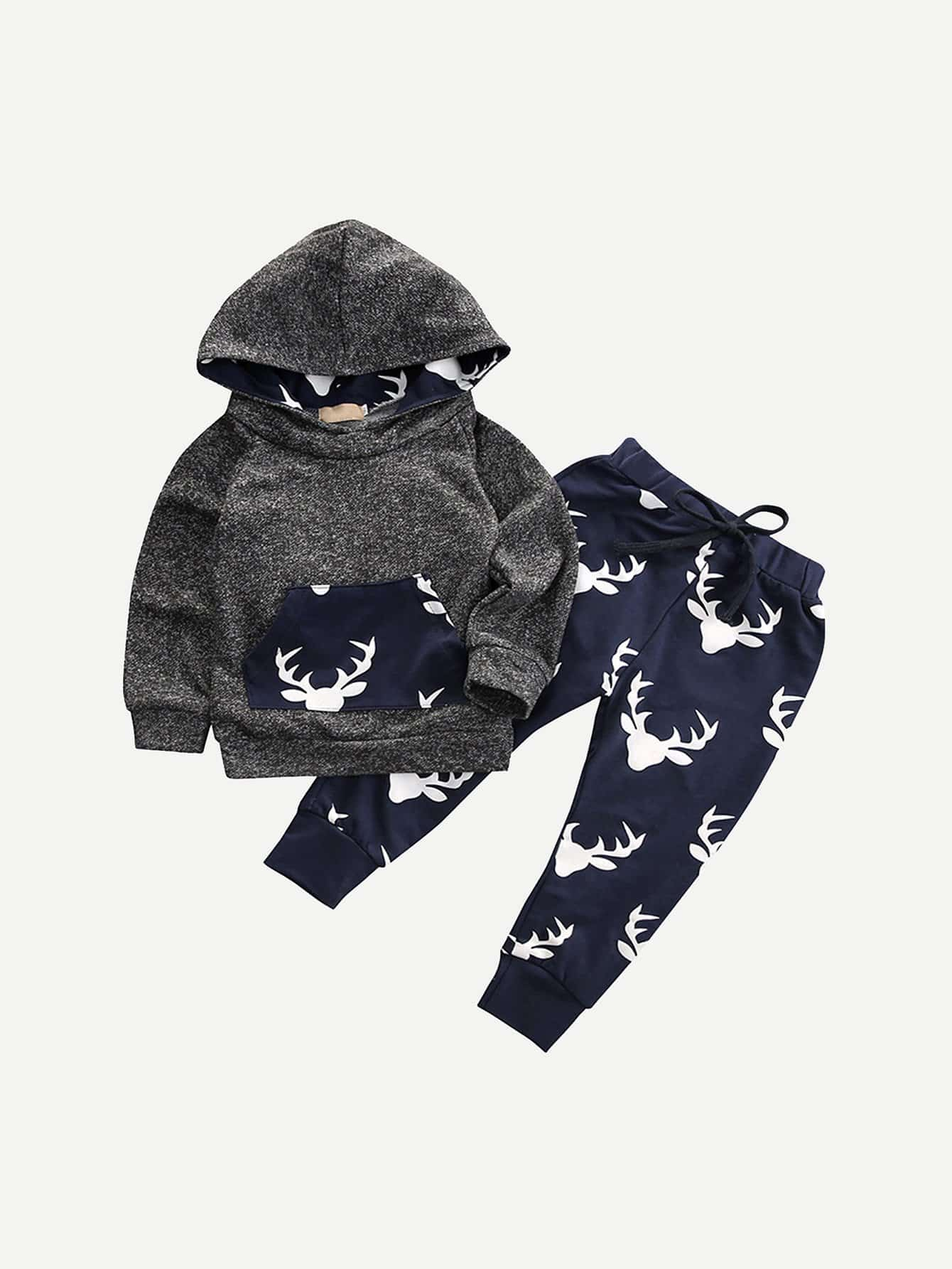 Toddler Boys Hooded Sweatshirt With Deer Print Pants null