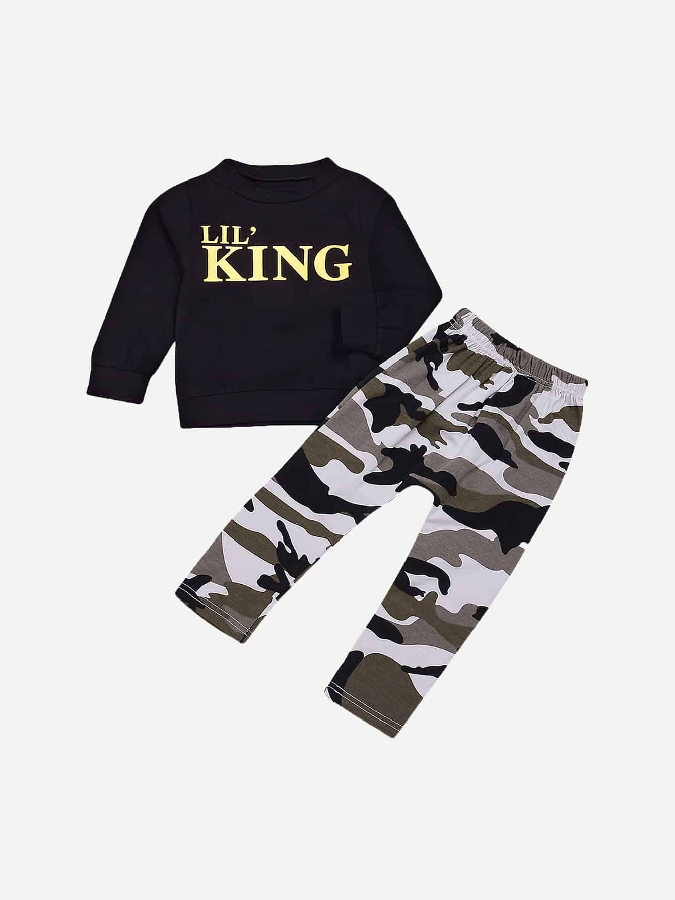 Toddler Boys Letter Print Sweatshirt & Camo Print Pants null