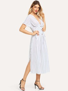 Single Breasted Striped Dress