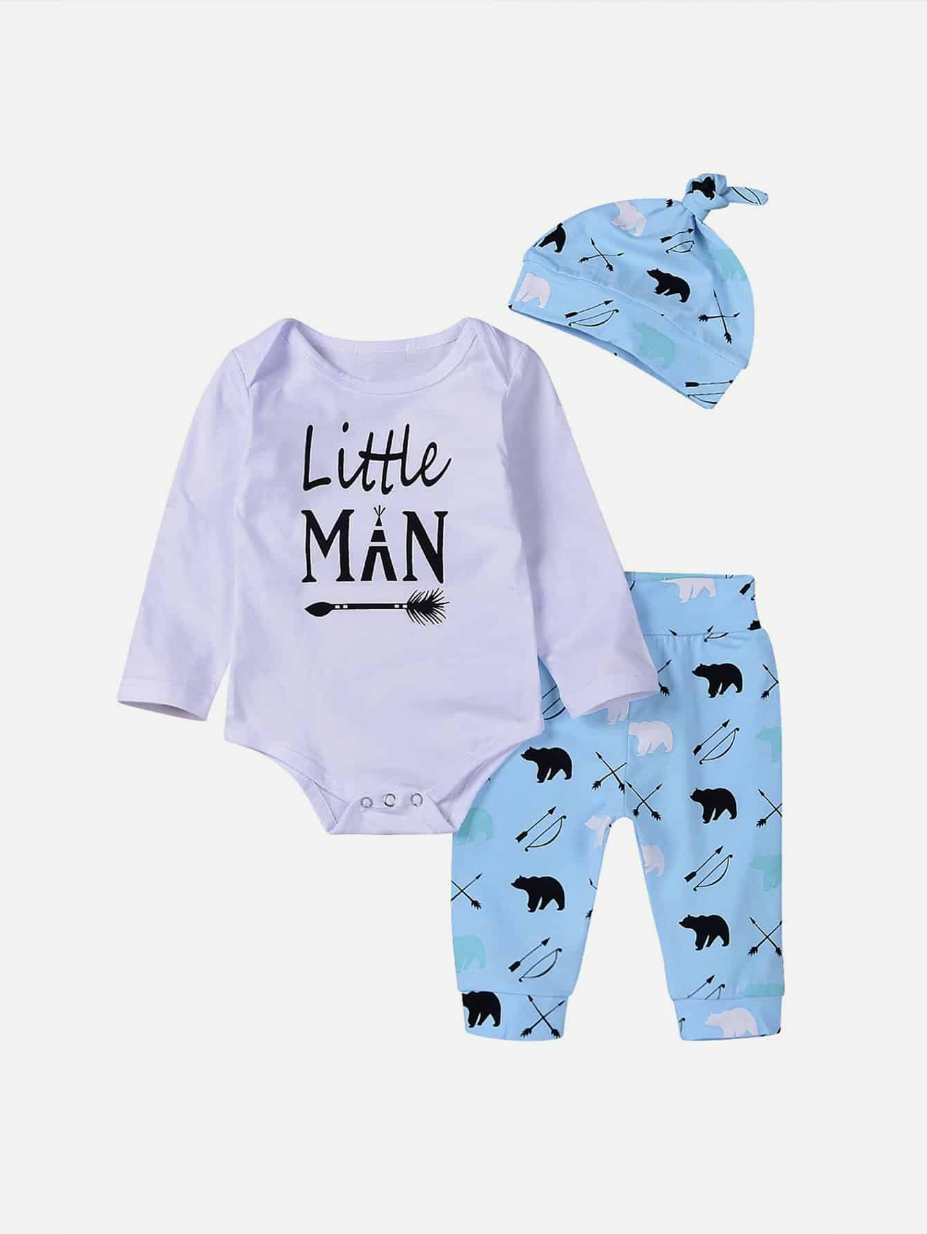 Boys Letter Print Romper & Animal Print Pants Set With Hat original huimei 51pcs electric train railway tracks building blocks set boys brick toys compatible with duplo baby gift