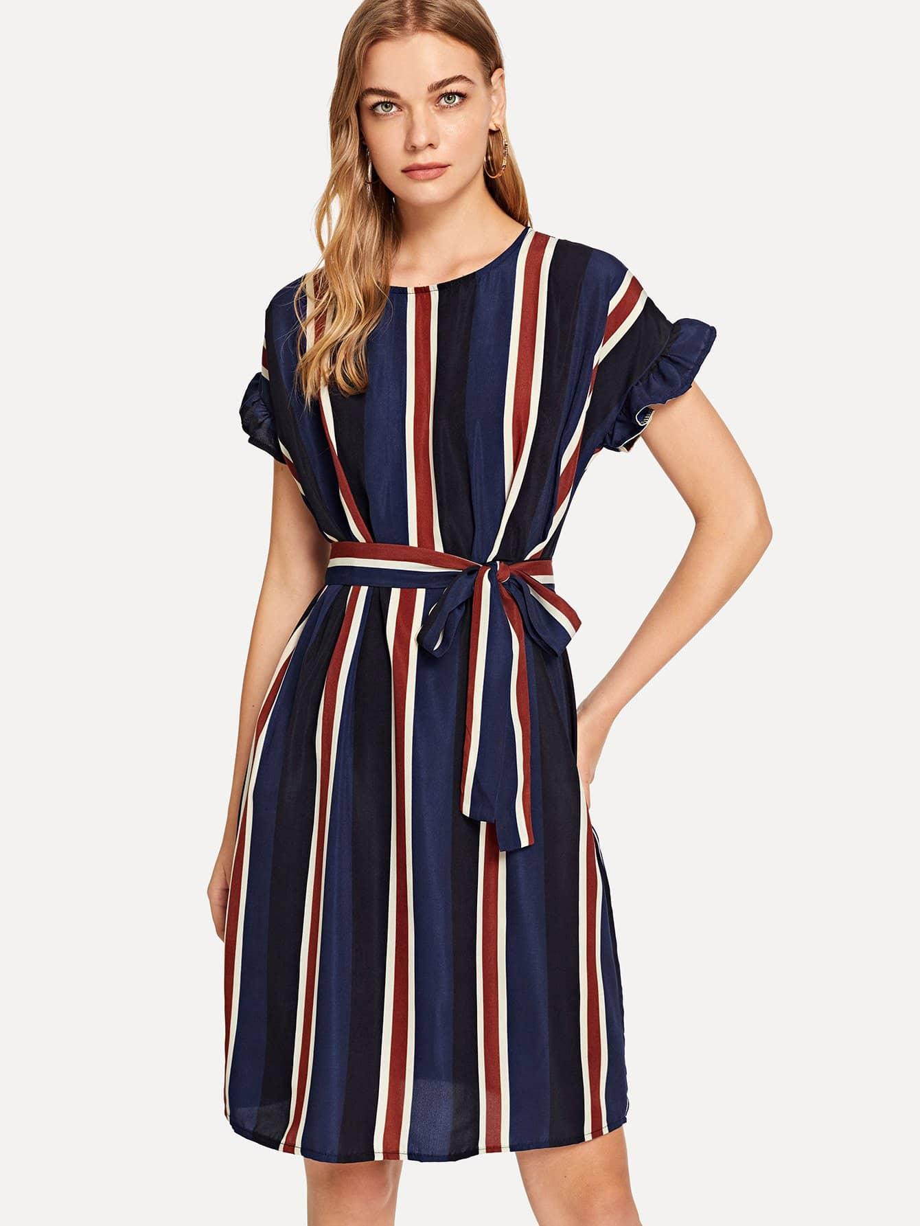 Купить Полосатое платье в талию и с ружевными оборками, Teresa, SheIn