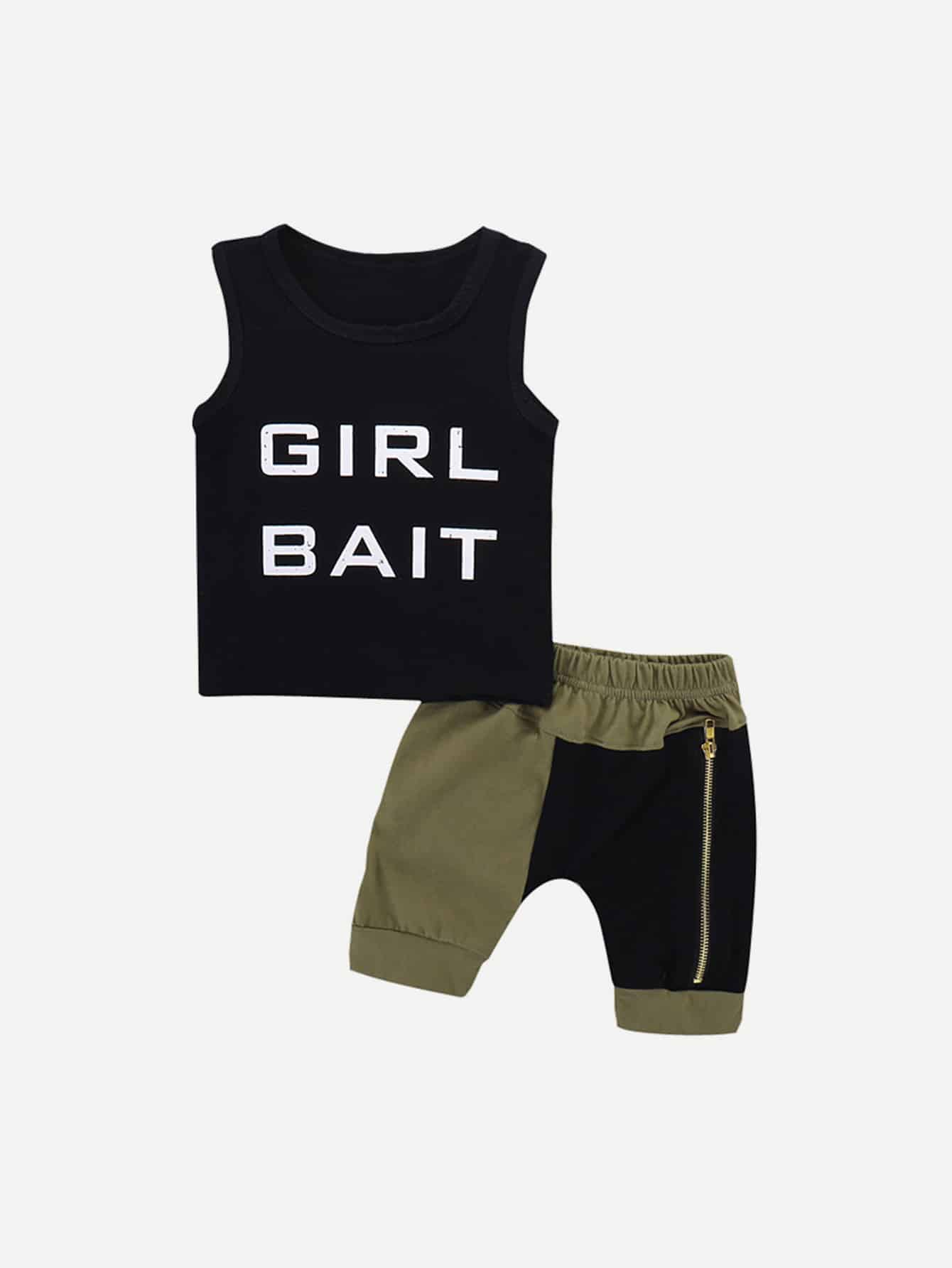 Toddler Boys Letter Print Top & Shorts null