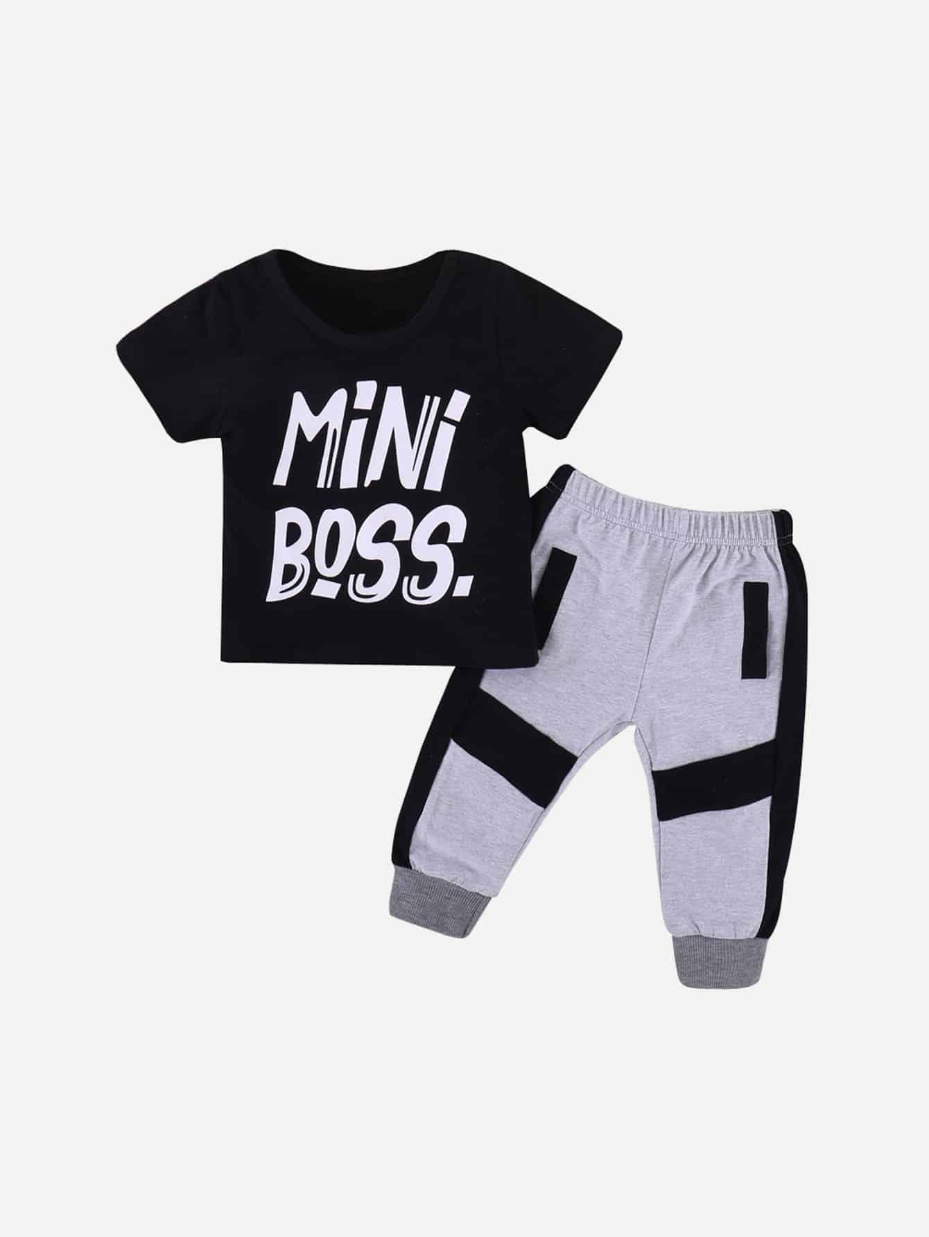 Toddler Boys Letter Print Tee & Side Stripe Pants null