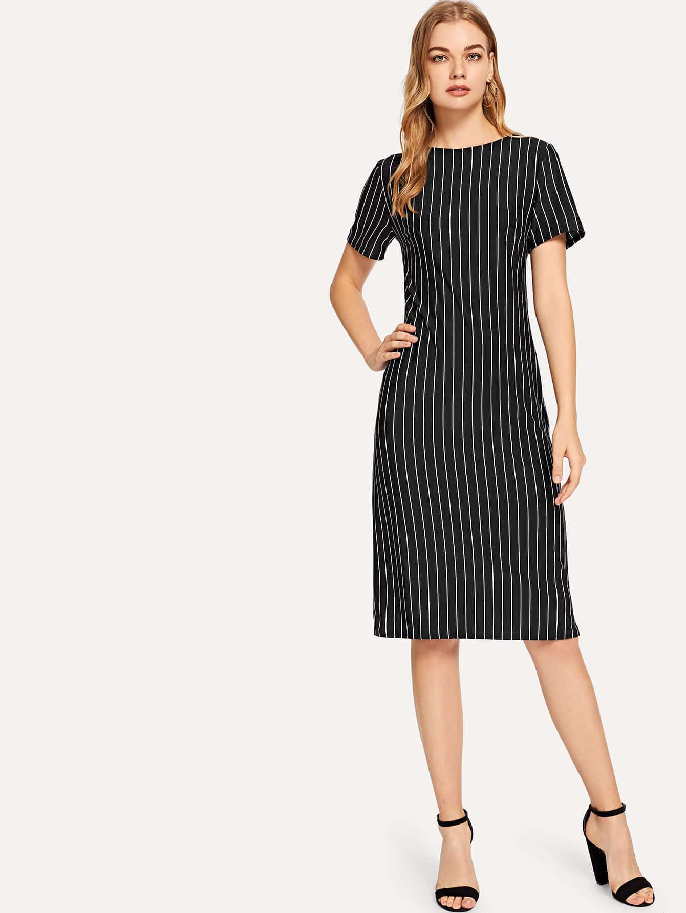 Купить Полосатое платье с круглым воротником, Teresa, SheIn