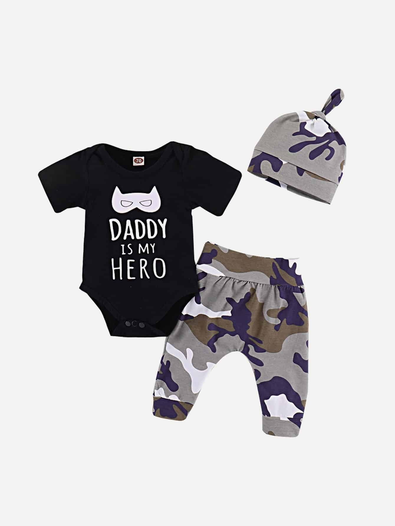 Boys Letter Print Tee & Camo Print Pants Set With Hat kids letter print sleeveless tee with tropical print pants