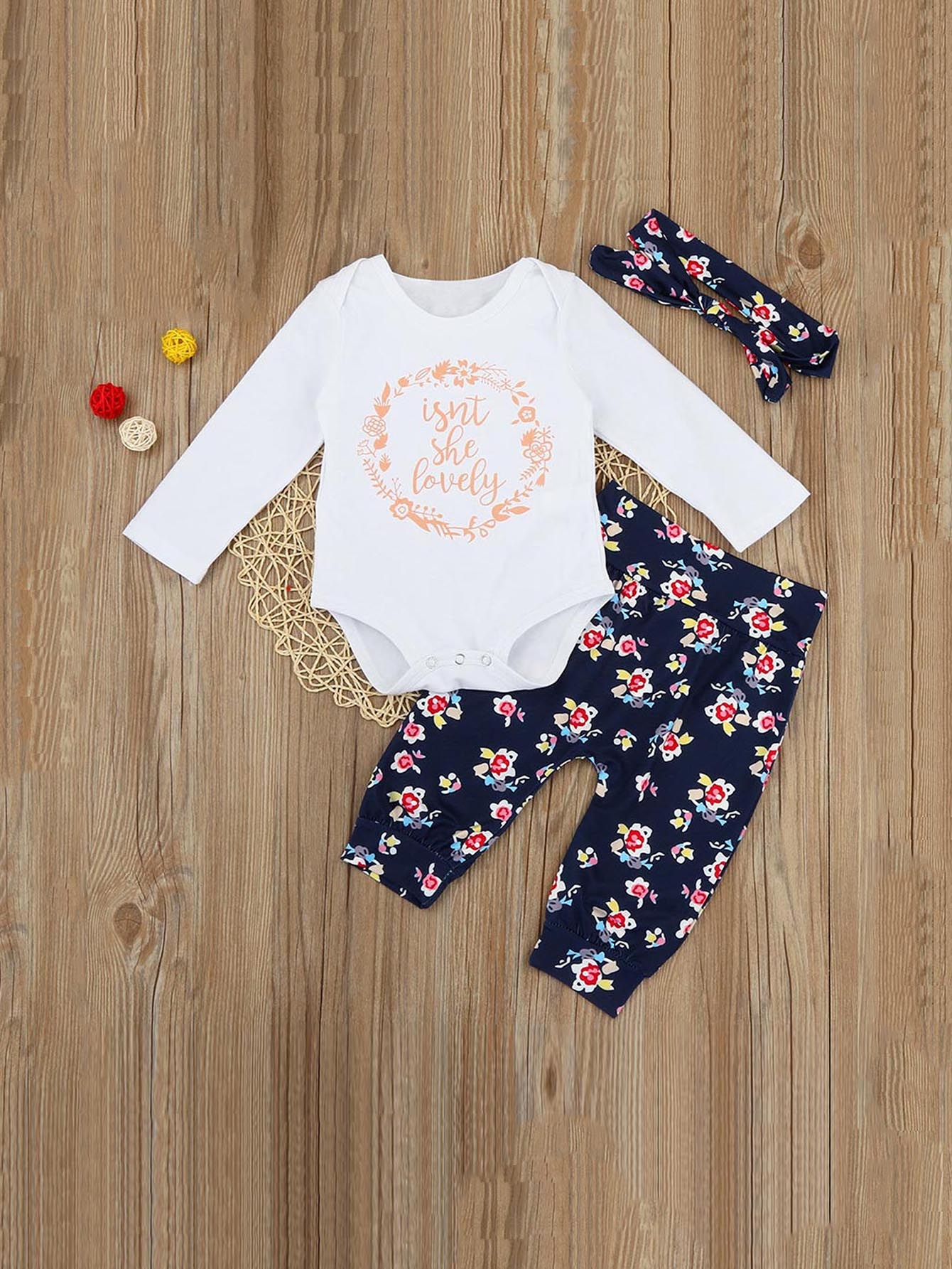 Boys Letter Print Romper & Floral Print Pants Set With Headband original huimei 51pcs electric train railway tracks building blocks set boys brick toys compatible with duplo baby gift