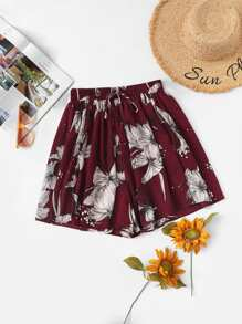 Plus Floral Knot Ruched Shorts