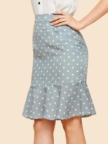 Polka Dot Ruffle Hem Zip Back Skirt