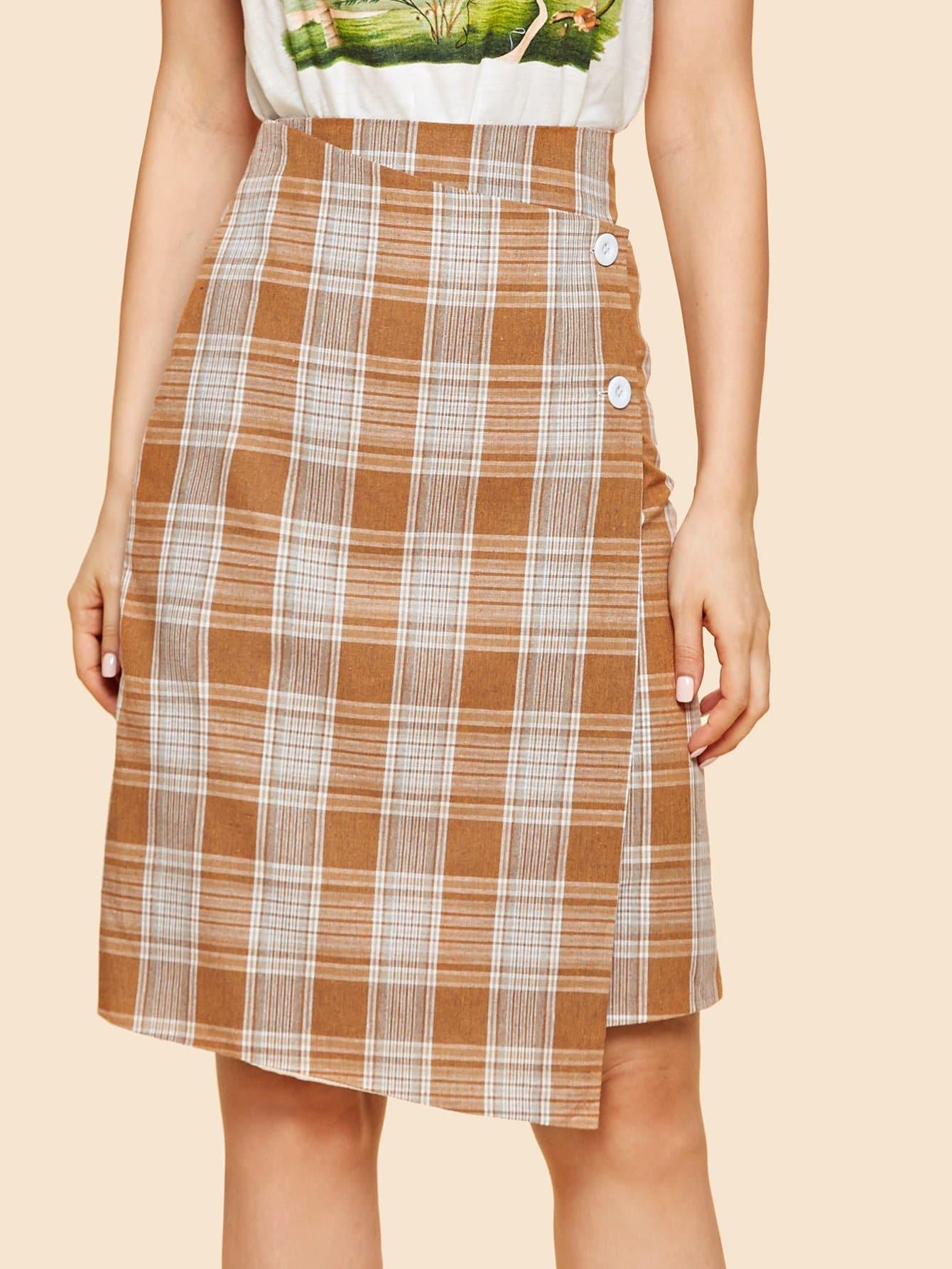 Купить Облегающая юбка в клетку с украшением пуговиц, Julie H., SheIn
