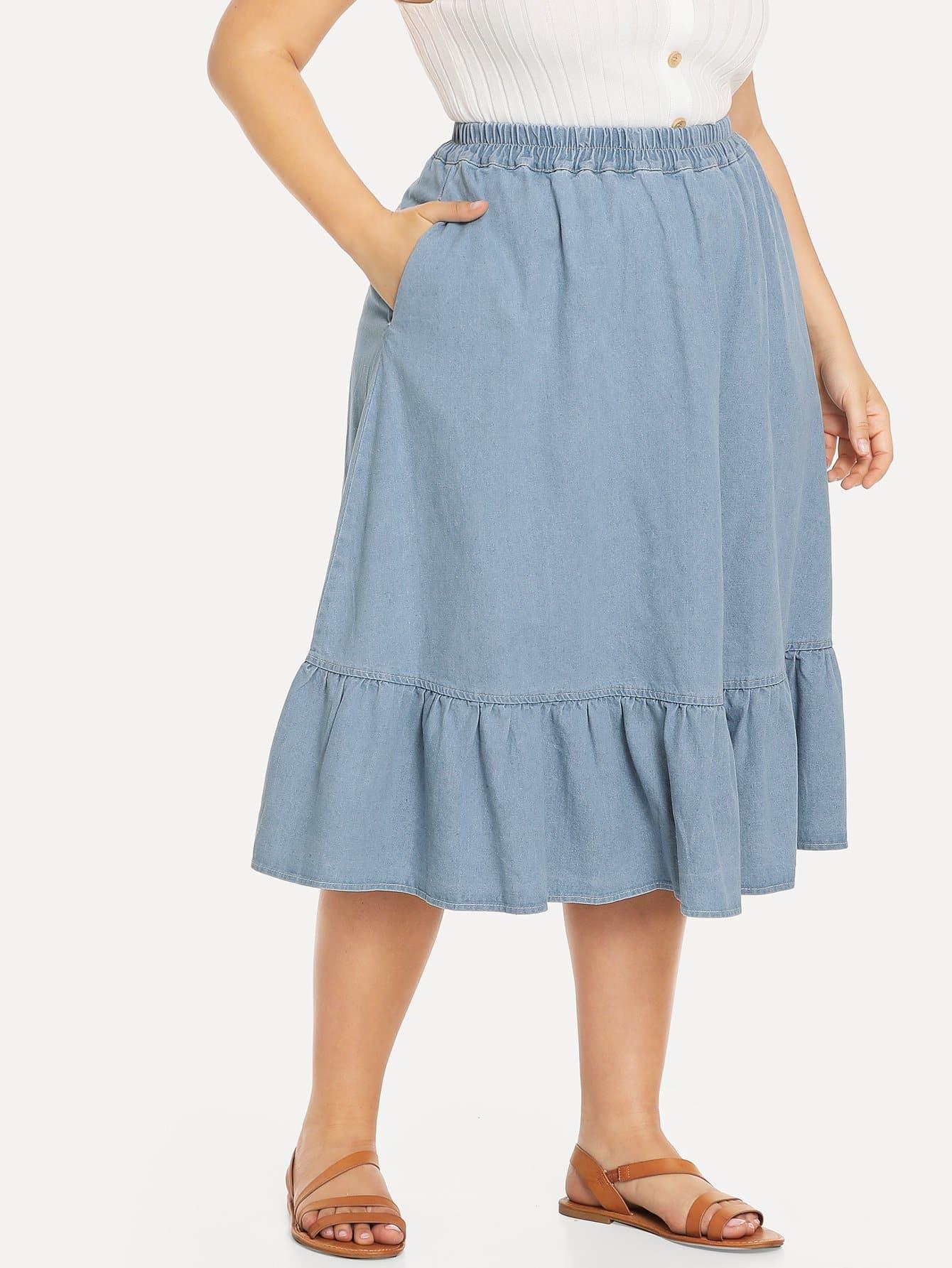 Купить Эластичная юбка и подол с розеткой, Franziska, SheIn