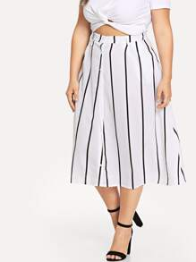 Plus Single Breasted Striped Skirt
