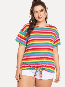 Plus Knot Front Striped Tee