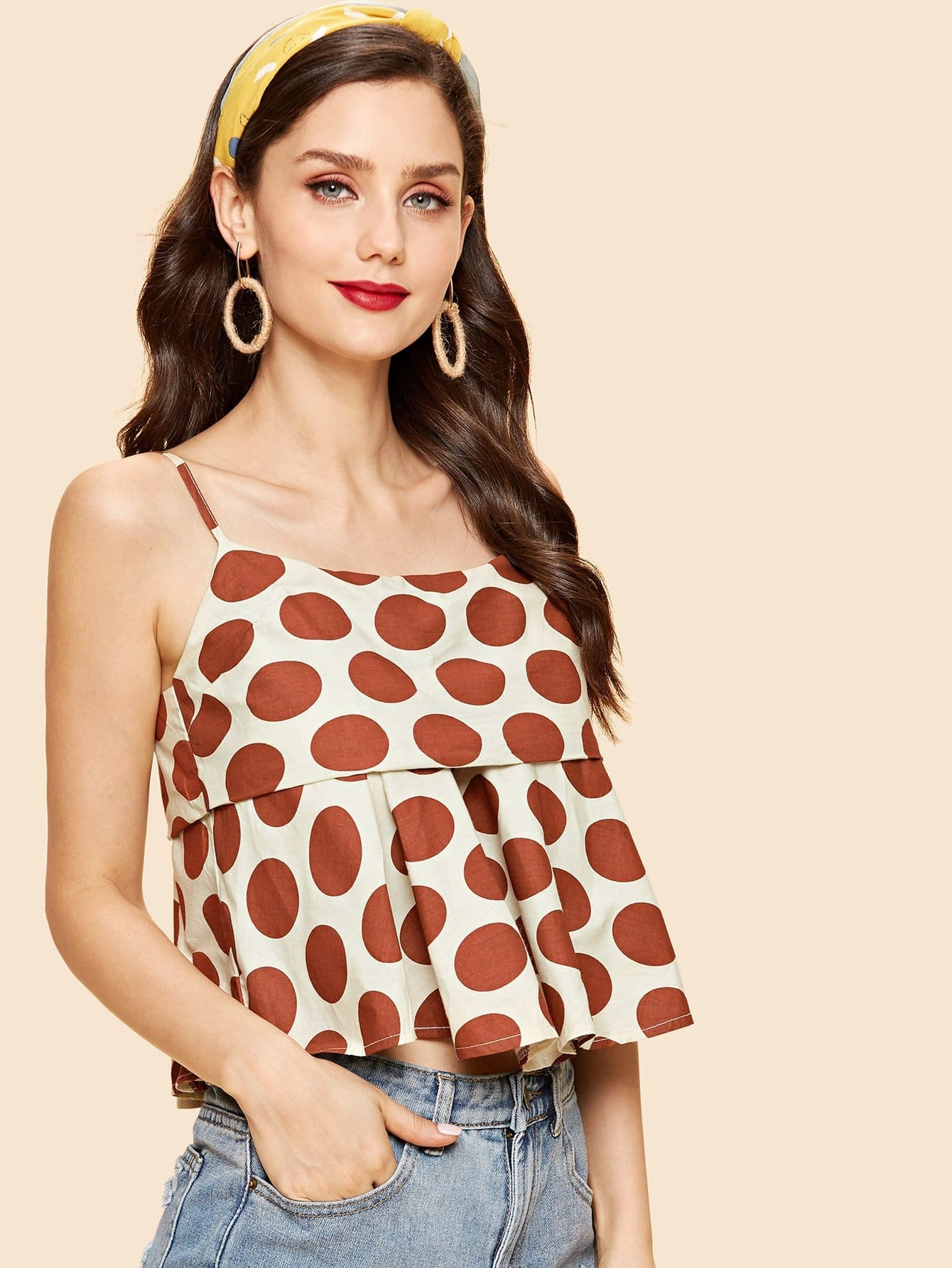 Polka Dot Ruffle Hem Cami Top layered ruffle polka dot cami dress
