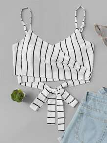 Knot Back Striped Crop Cami Top
