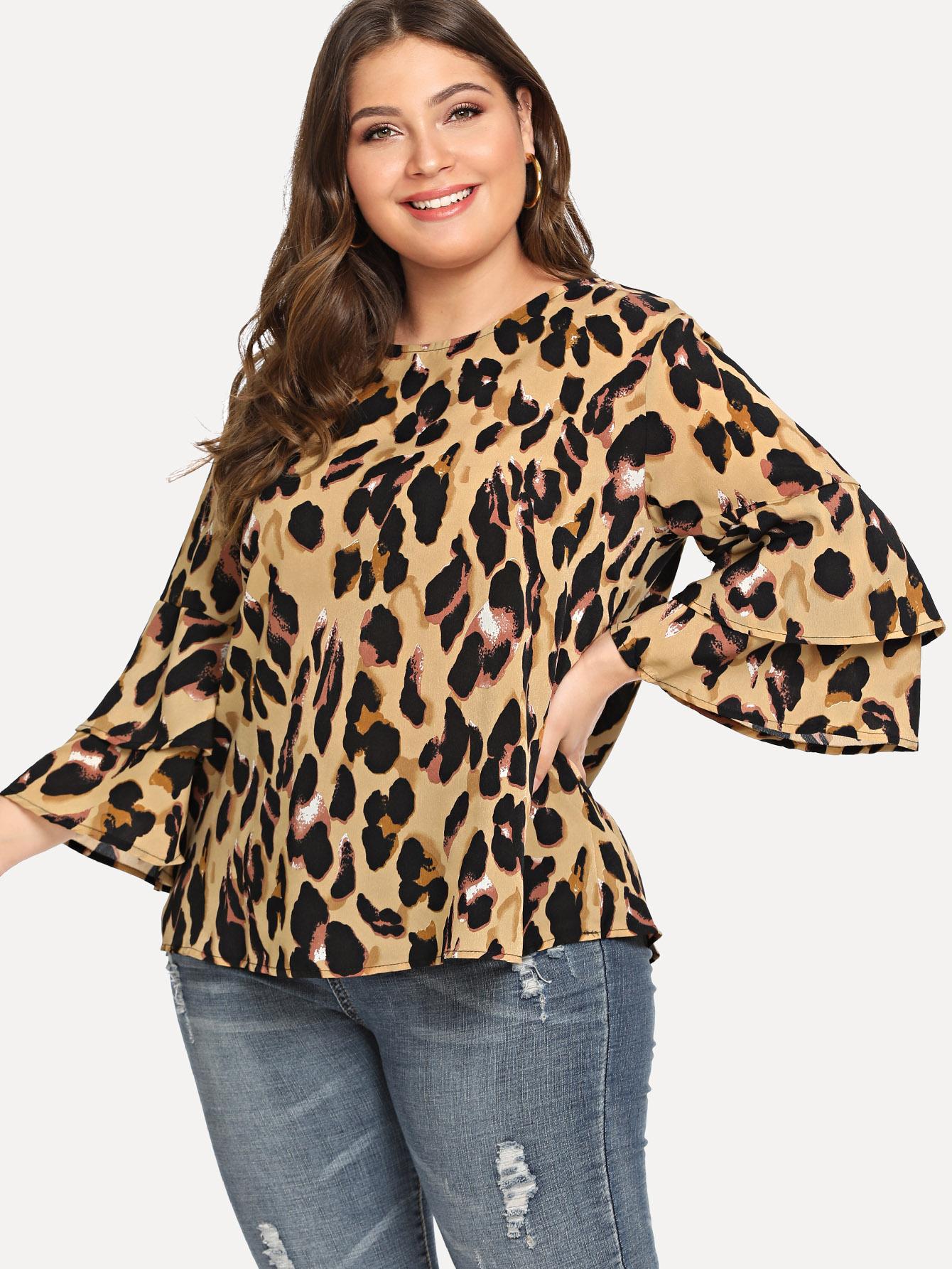 Купить Bell Sleeve Leopard Печать Вверх, Carol, SheIn