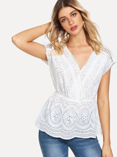 Surplice Neck Eyelet Embroidered Top