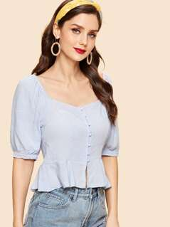 Square Neck Buttoned Crop Top
