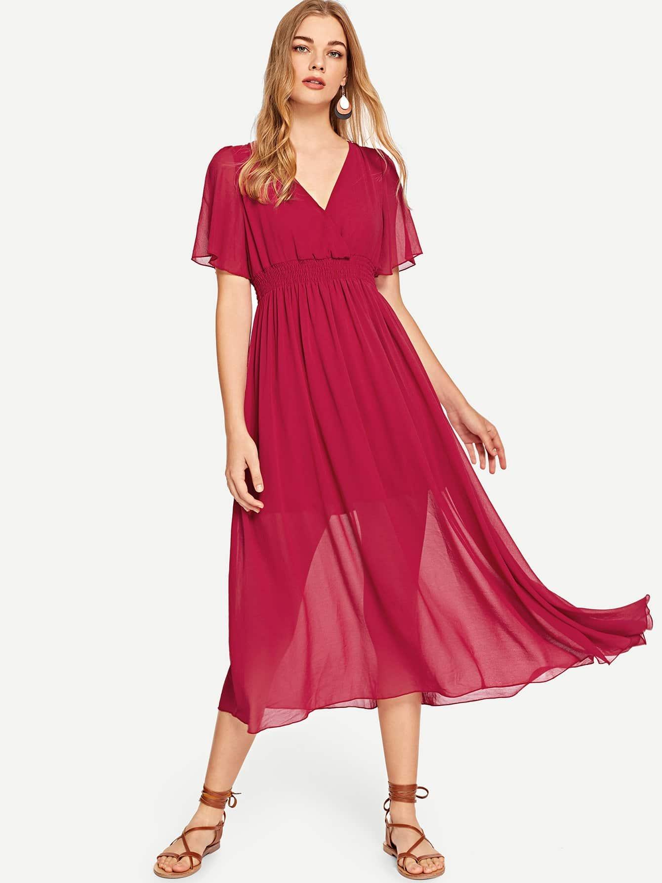 Купить Платье с рукавами V-образным вырезом, Teresa, SheIn