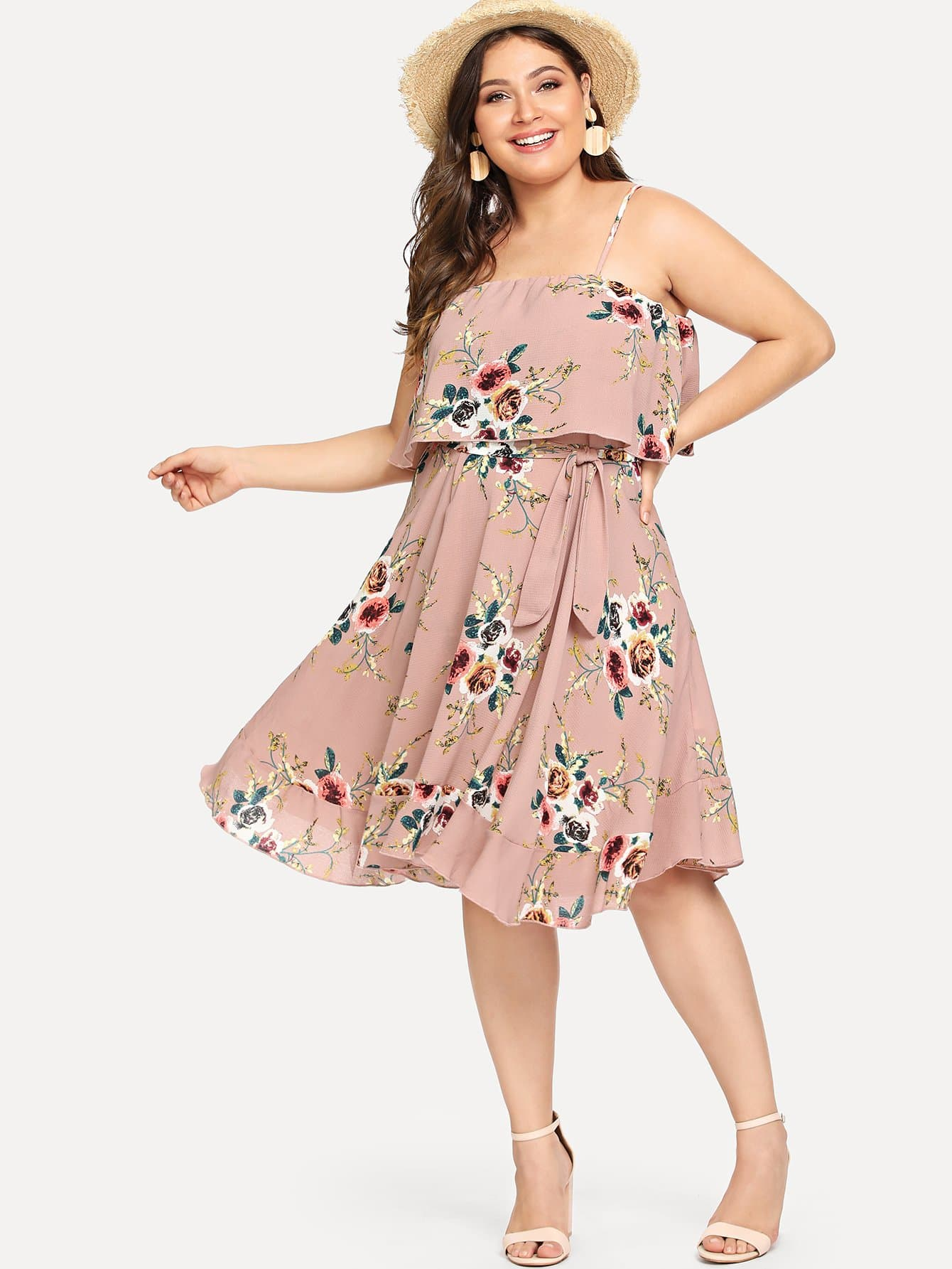 Купить Двухслойное ботаническое платье для ками, Carol, SheIn