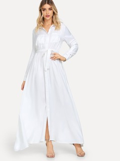 Self Belted Solid Shirt Dress