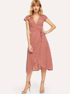 Surplice Neck Knot Dot Dress