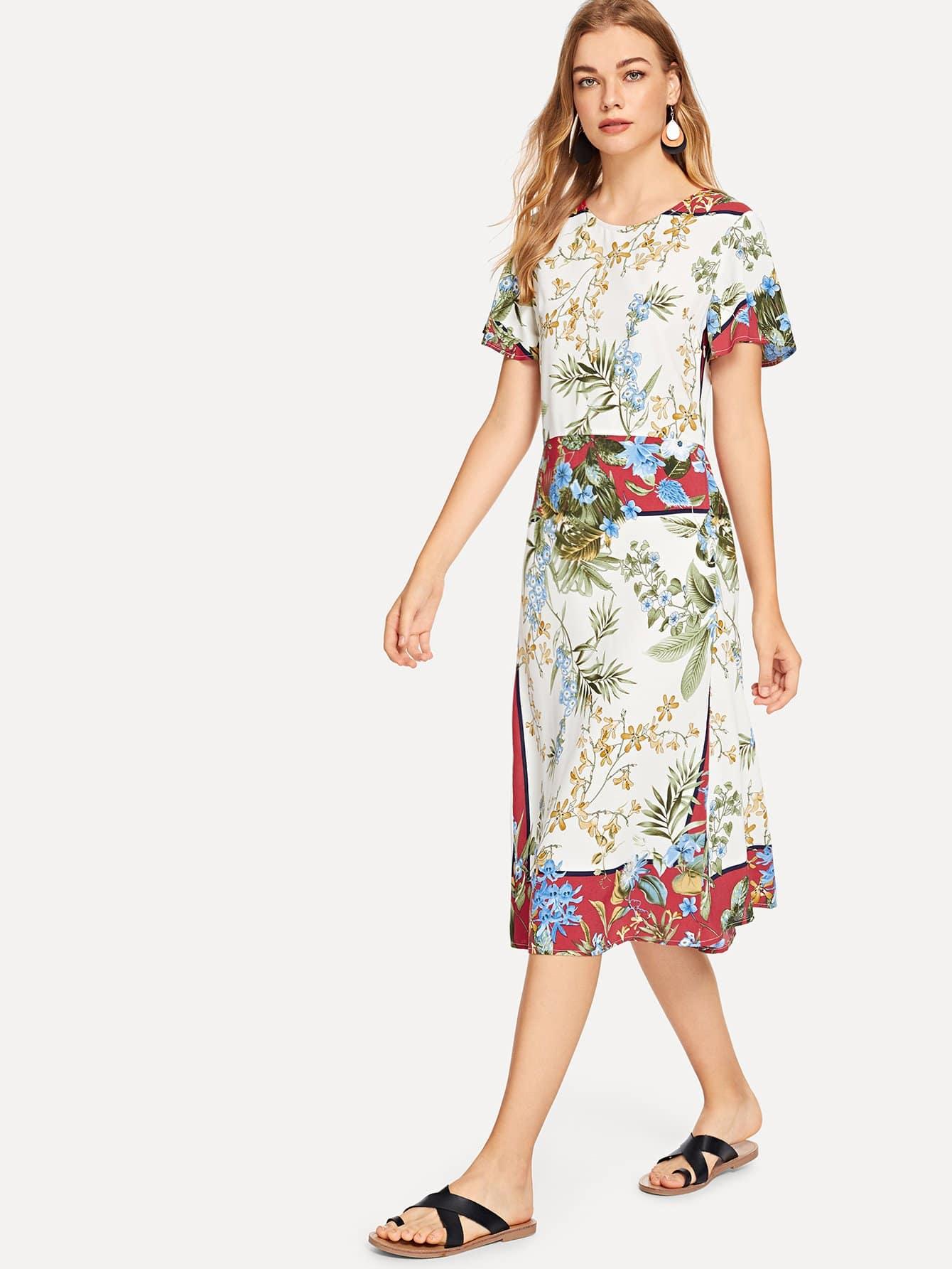 Купить Платье с рукавами из тропической печати, Teresa, SheIn