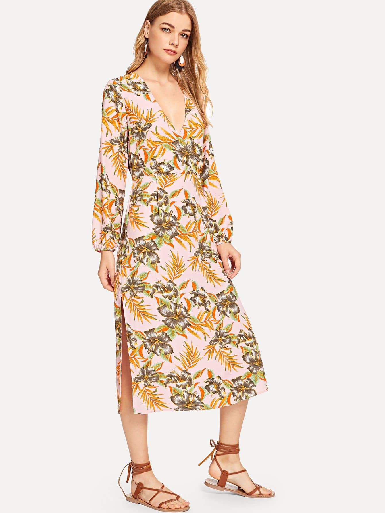 Купить Платье для печати листьев джунглей V Veck, Teresa, SheIn