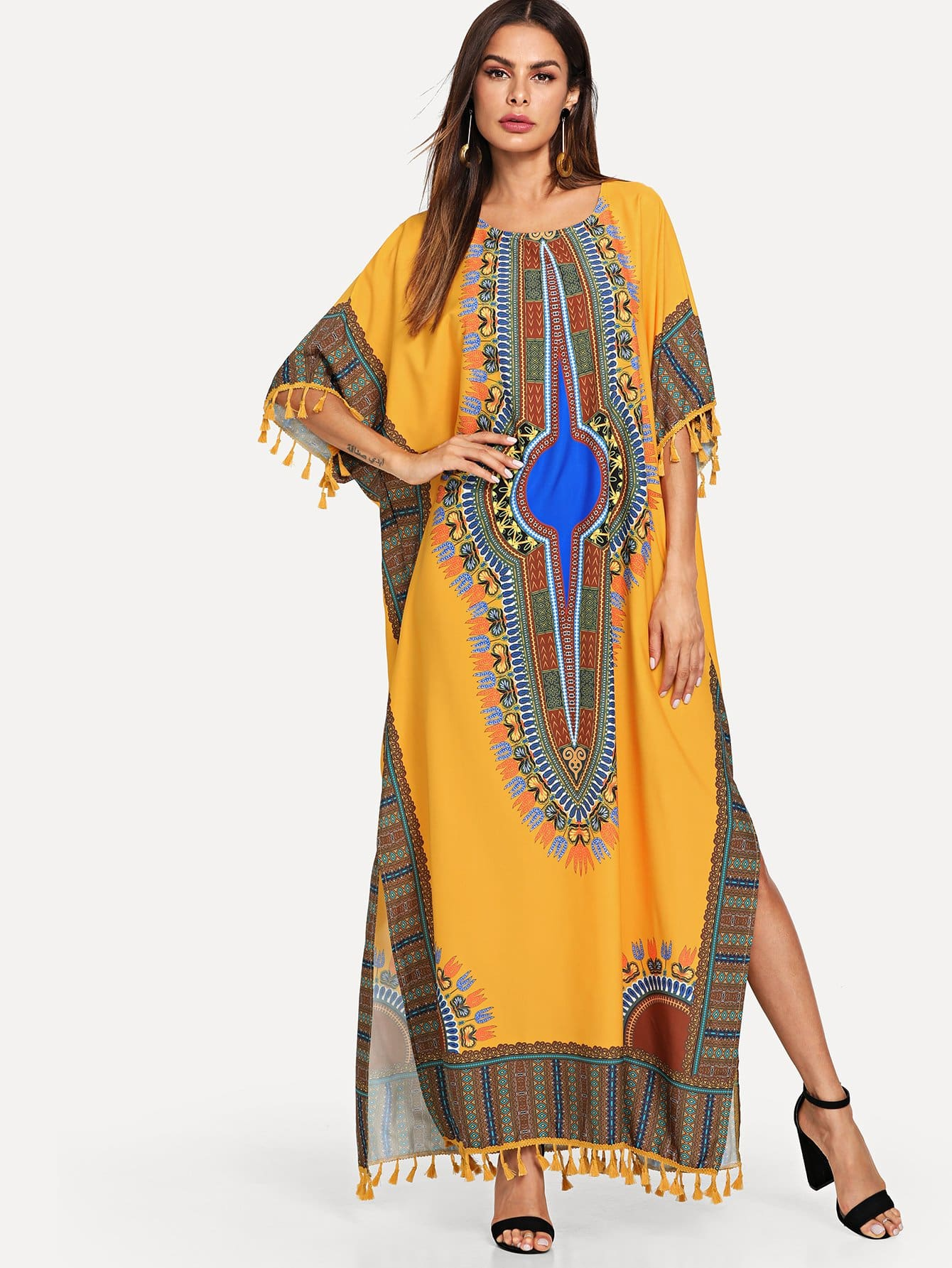 Изысканная печать Tassel Trim Poncho Dress