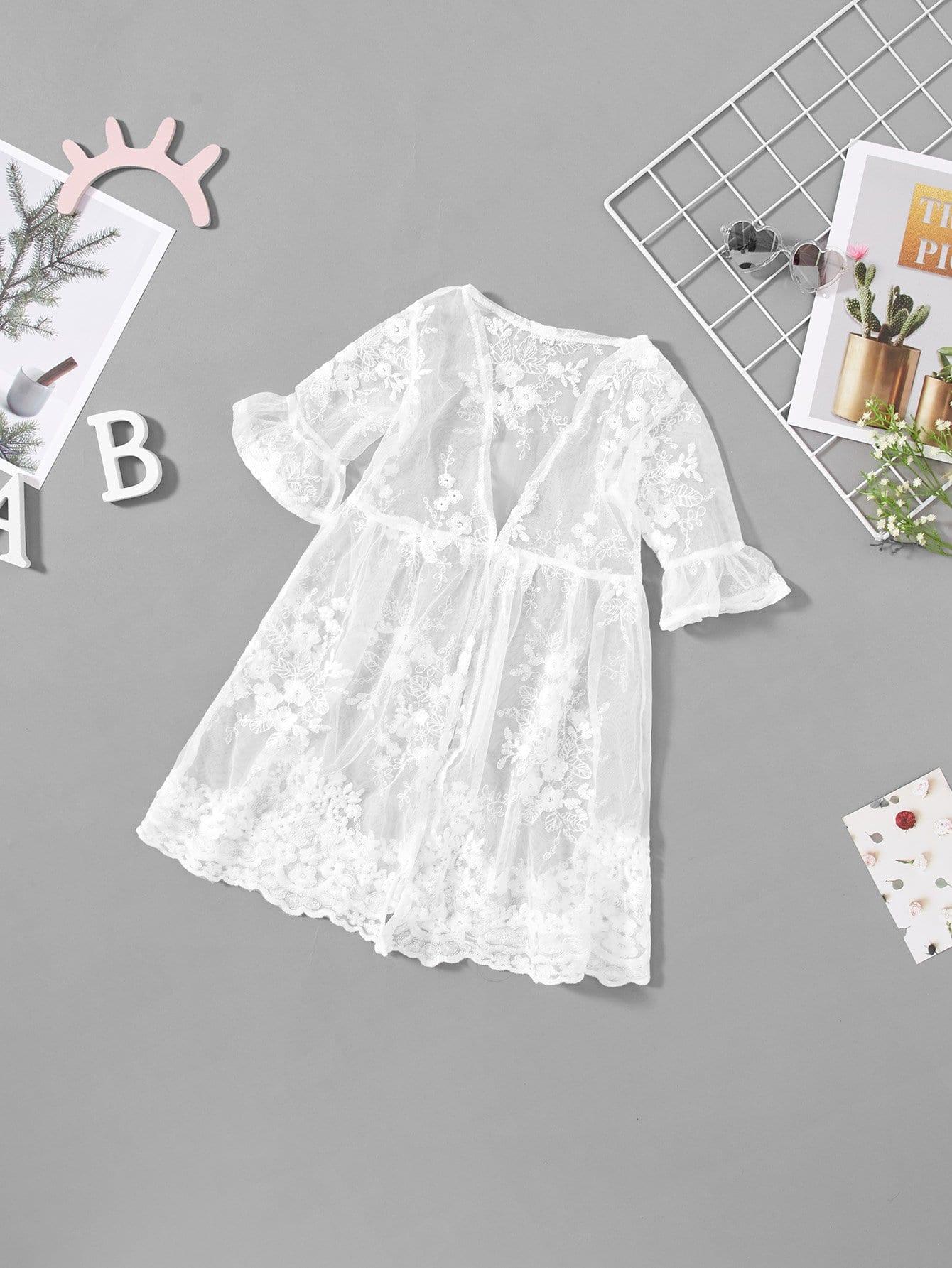 Купить Прозрачное кимоно с вышивкой и широкими рукавами, null, SheIn