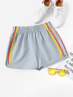Contrast Striped Curved Hem Shorts